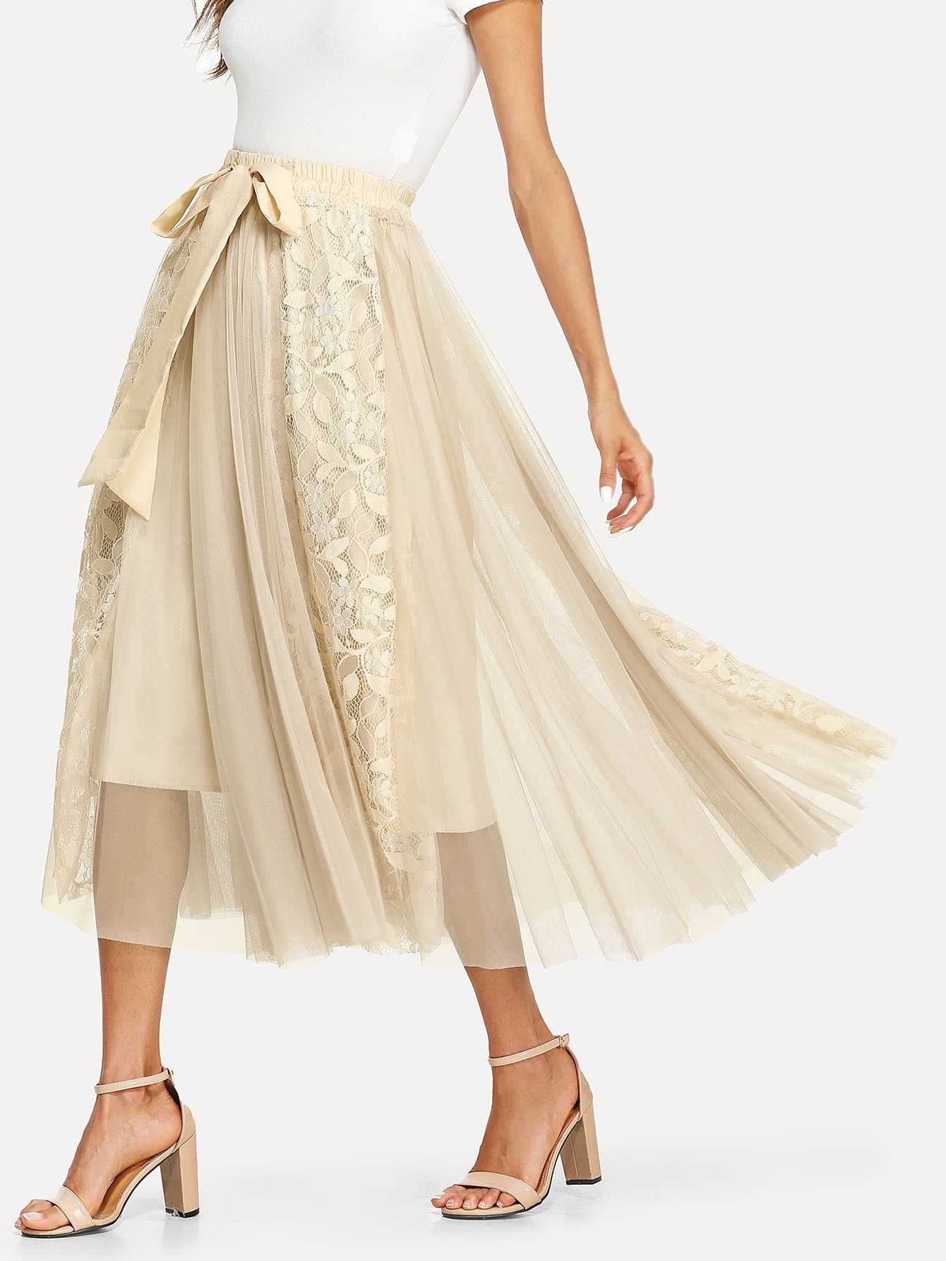 Bow Tie Waist Lace Contrast Mesh Skirt mesh contrast lace top