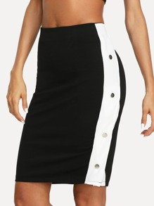 Letter Print Crop Tee & Button Side Skirt