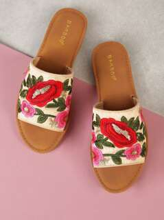Floral Embroidered Wide Band Slide Sandal RED