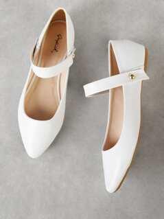 Convertible Strap Ballet Flat WHITE