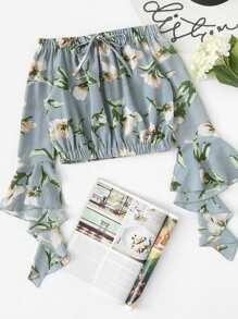 Off Shoulder Floral Print Fluted Sleeve Top