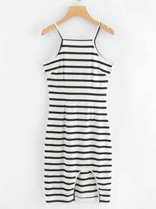 Cut Out Hem Striped Cami Dress