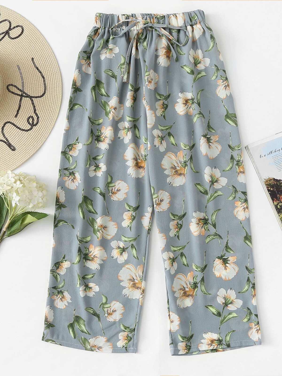 Drawstring Waist Floral Print Pants by Romwe