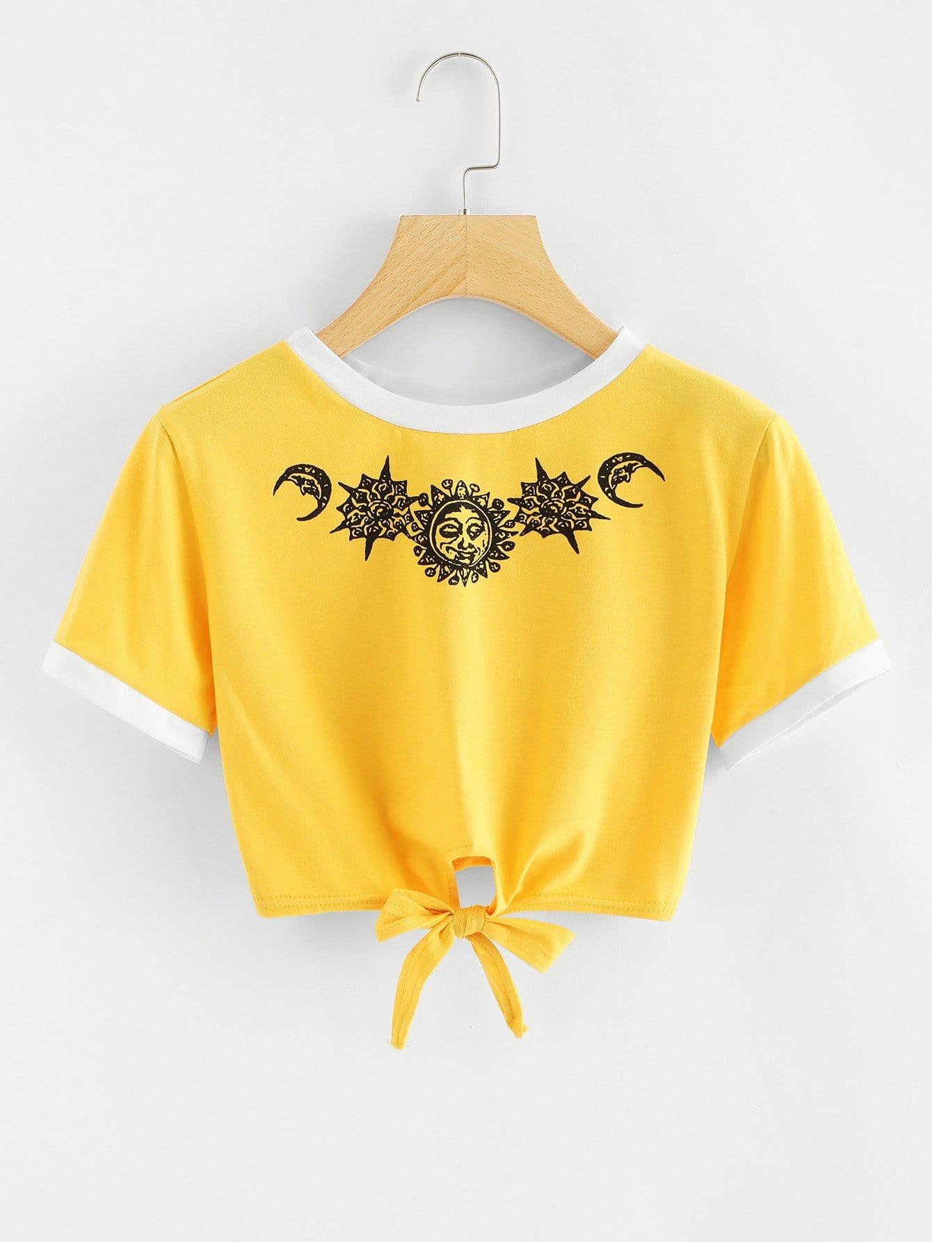 Sun Print Contrast Trim Tie Front T-shirt