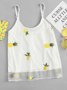 Mesh Pineapple Embroidered Cami Top