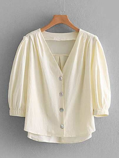 Pleated Detail High Low Blouse