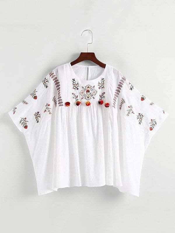 Embroidered Pom Pom Detail Kaftan Top pearl detail layered frill sleeve top