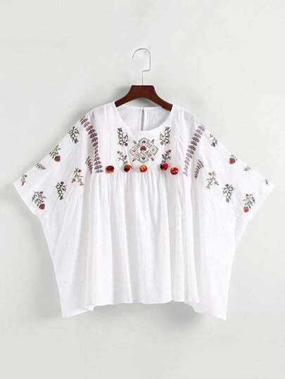 Embroidered Pom Pom Detail Kaftan Top