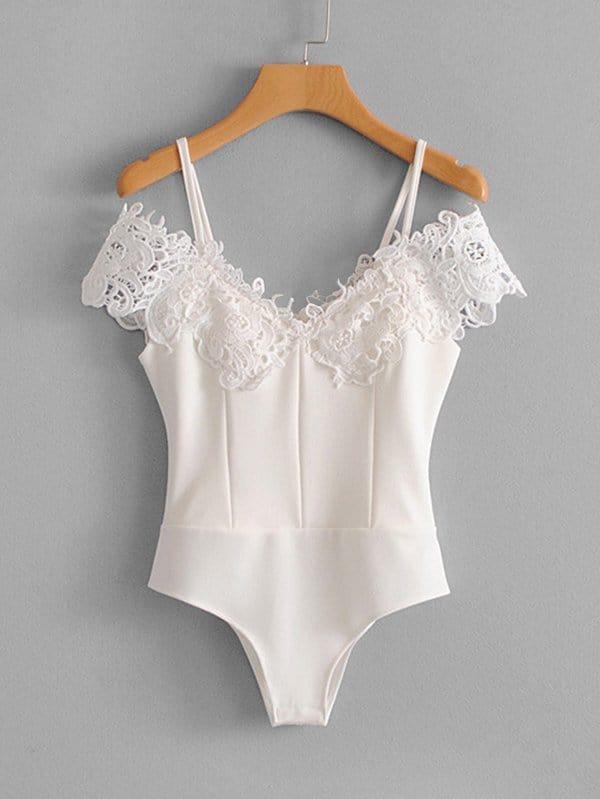Guipure Lace Panel Bodysuit guipure lace panel shorts