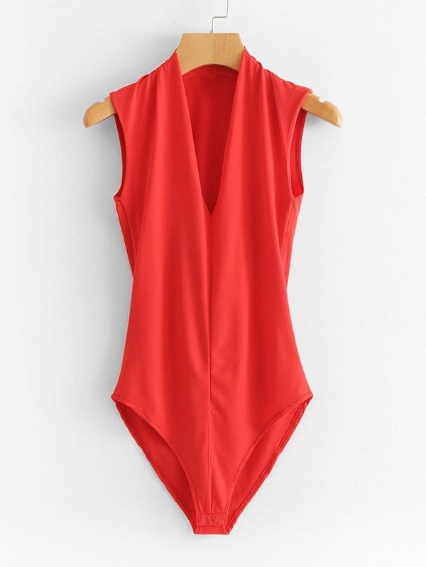 все цены на V Neckline Solid Bodysuit