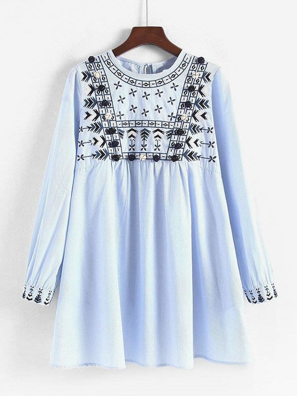Embroidered Pom Pom Detail Striped Babydoll Dress daisy embroidered striped night dress