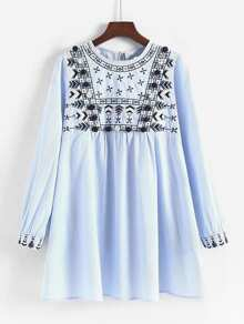 Embroidered Pom Pom Detail Striped Babydoll Dress