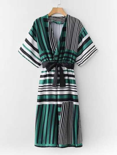 Multi-Stripe Surplice Neckline Dress