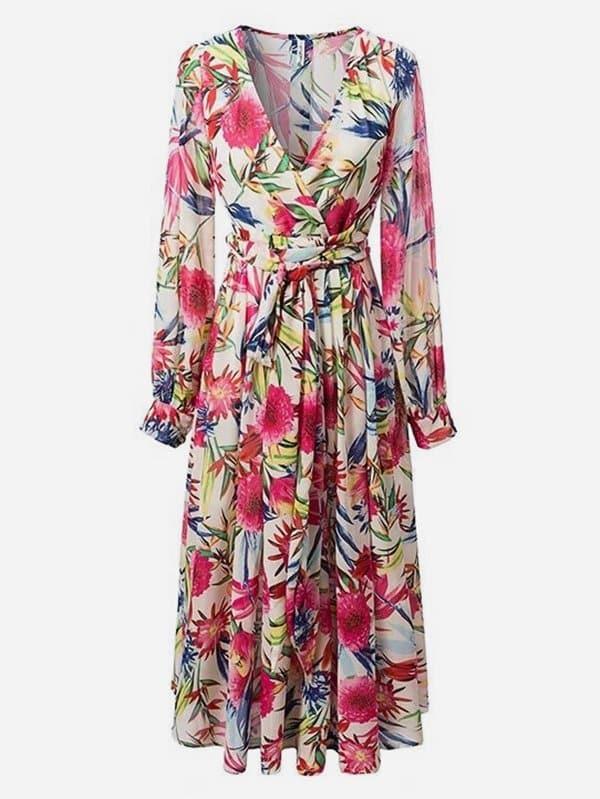 Botanical Print Surplice Chiffon Dress botanical print surplice wrap dress