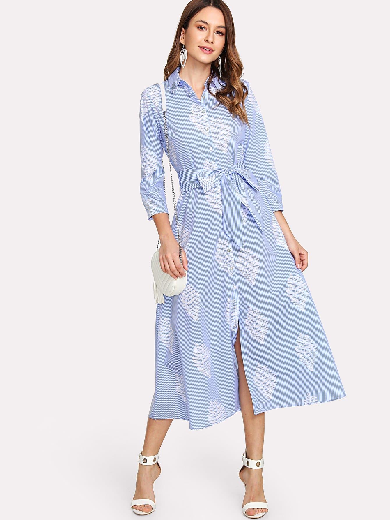Купить Платье рубашка в полоску, Karla, SheIn