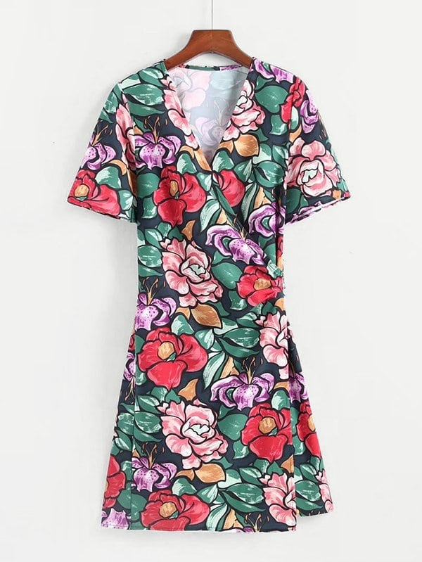 All Over Florals Wrap Dress all over florals ruffle hem wrap dress