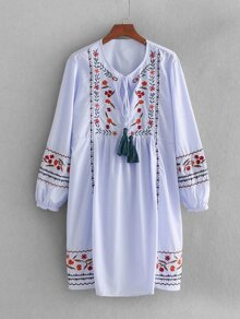 Tassel Tie Embroidered Babydoll Dress