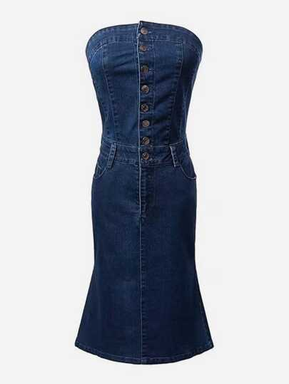 Single Breasted Tube Denim Dress