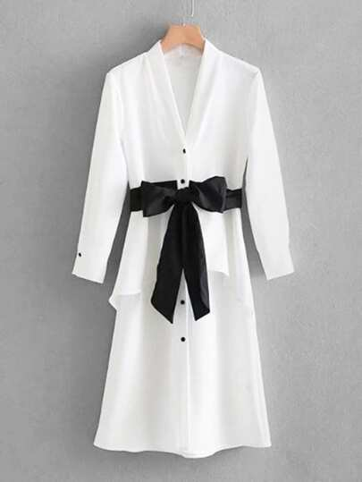 Contrast Bow Tie Detail Ruffle Shirt Dress