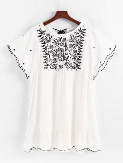 Tassel Tie Back Embroidered Babydoll Dress