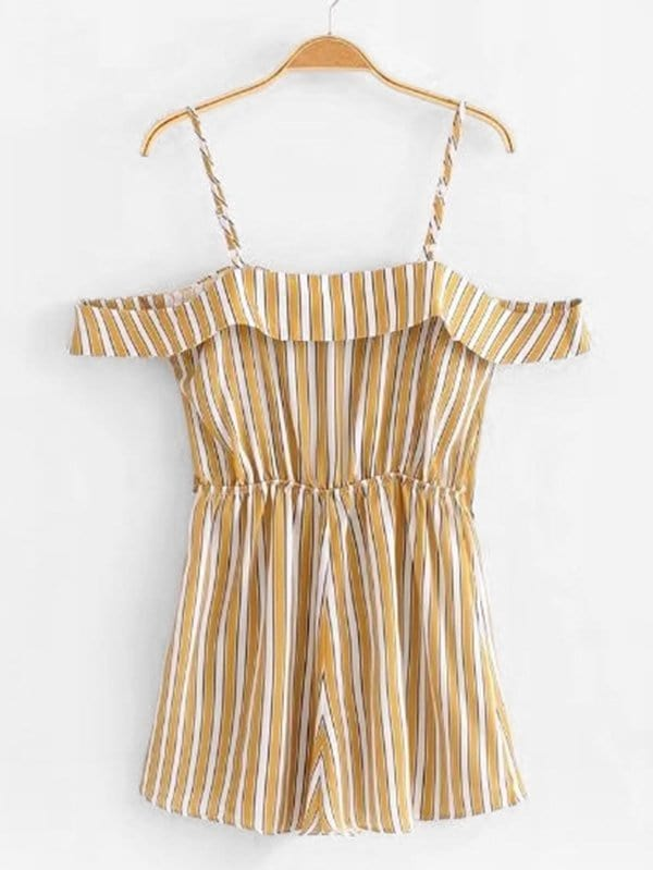 Contrast Stripe Ruffle Trim Romper ruffle trim striped romper