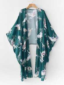 Cranes Print High Low Kimono