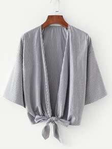 Vertical-Striped Drop Shoulder Kimono