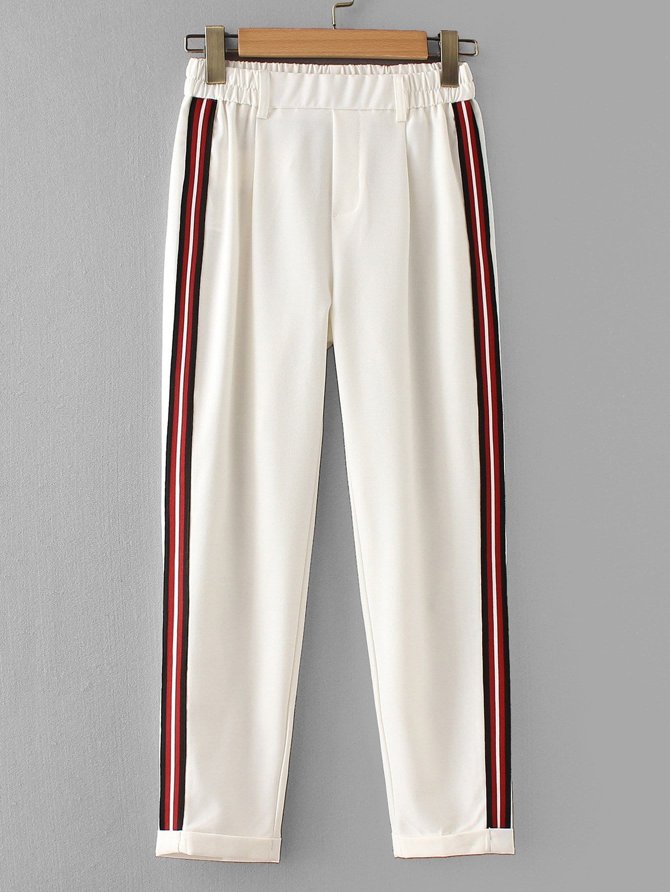 Striped Tape Side Cuffed Pants solid cuffed pants