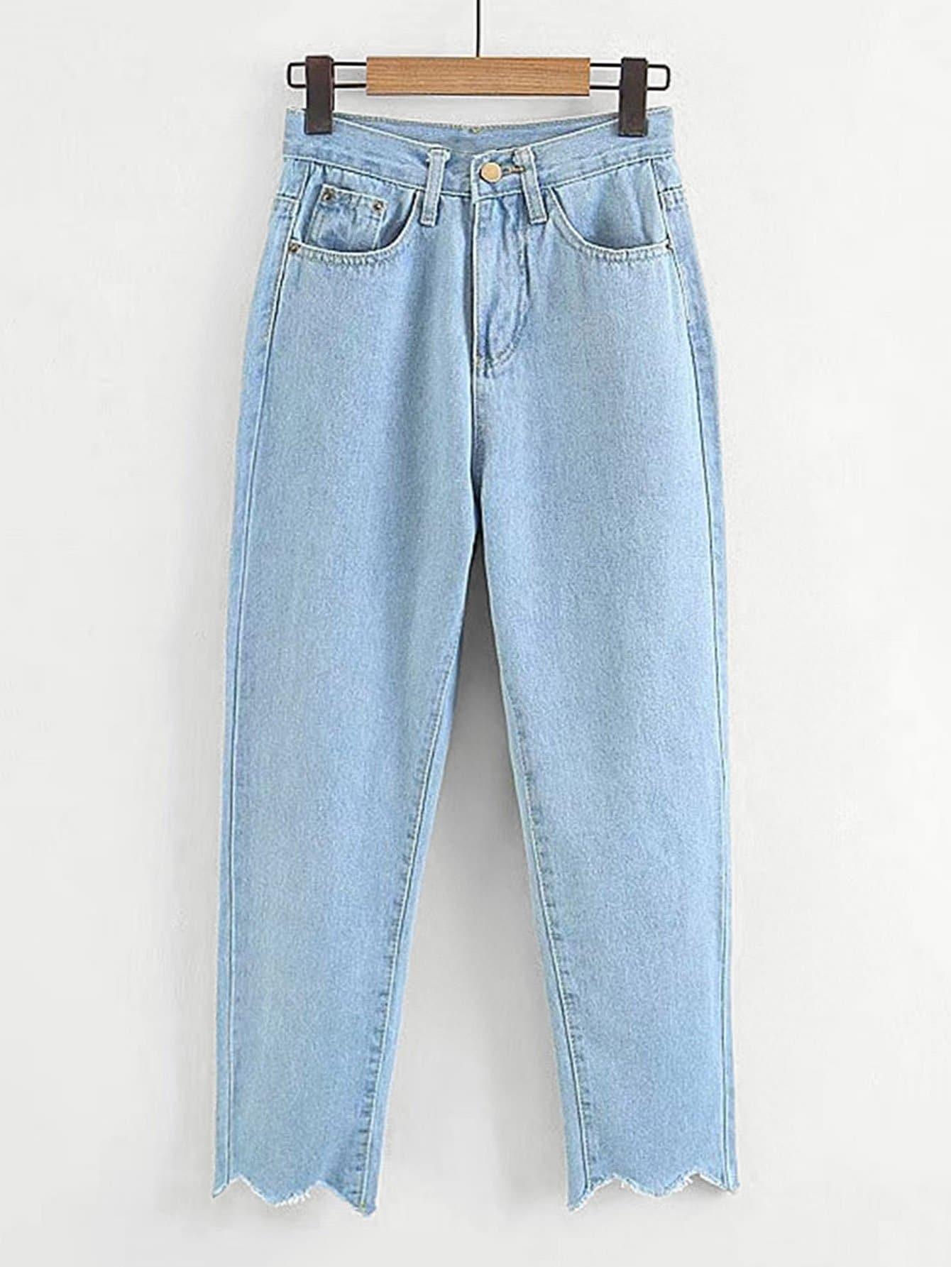 Chevron Raw Hem Jeans цена