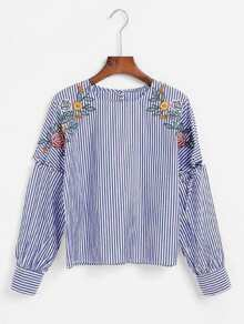 Contrast Stripe Embroidery Blouse