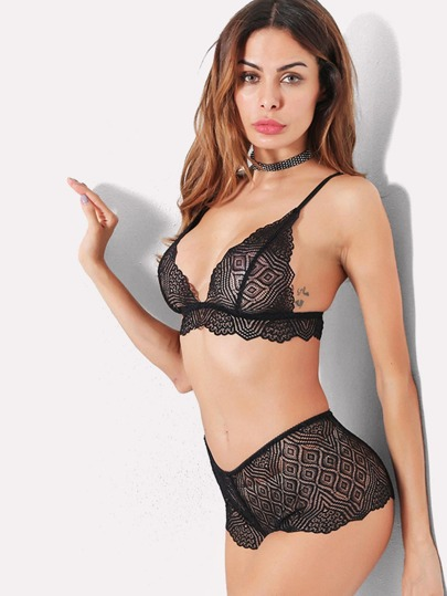 Geometric Pattern Lingerie Set