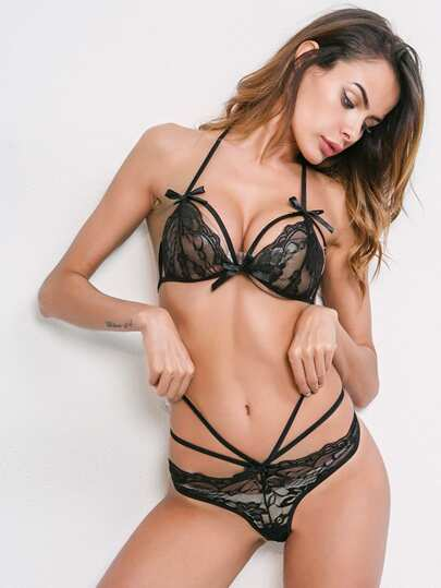Bow Detail Strappy Lingerie Set