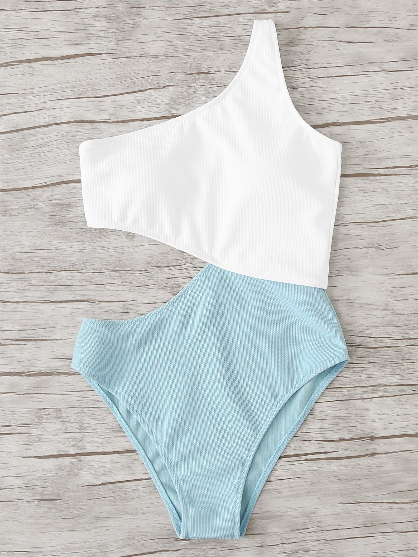 Two Tone Cut Out Swimsuit two tone drop shoulder sweatshirt