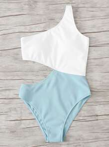 Two Tone Cut Out Swimsuit
