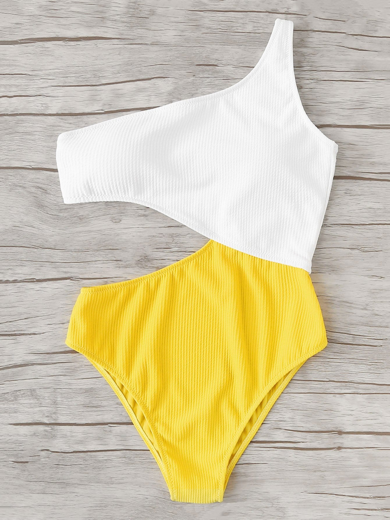 Two Tone Cut Out Swimsuit tie side two tone swimsuit