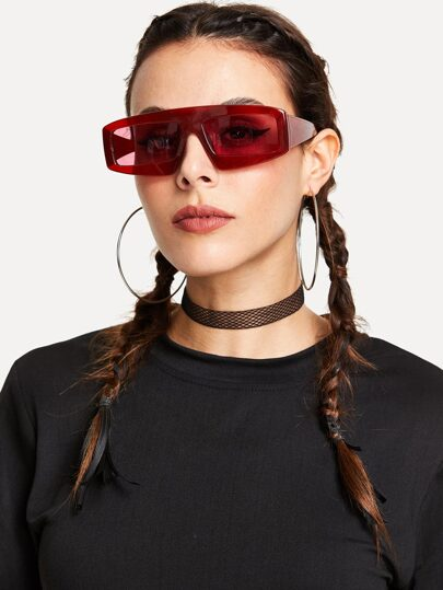 Chunky Frame Tinted Lens Sunglasses