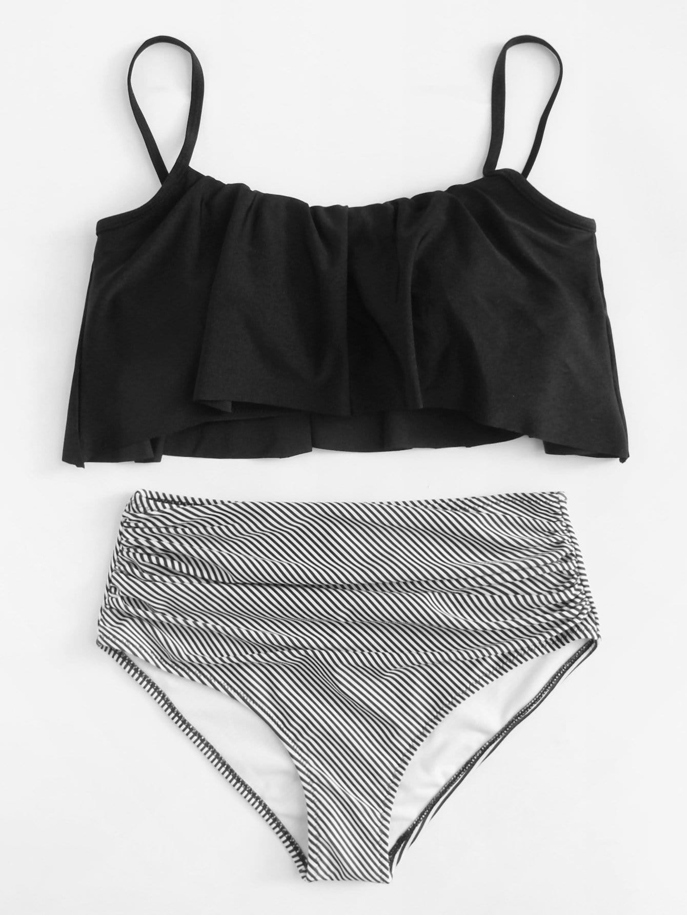 Striped Flounce Bikini Set