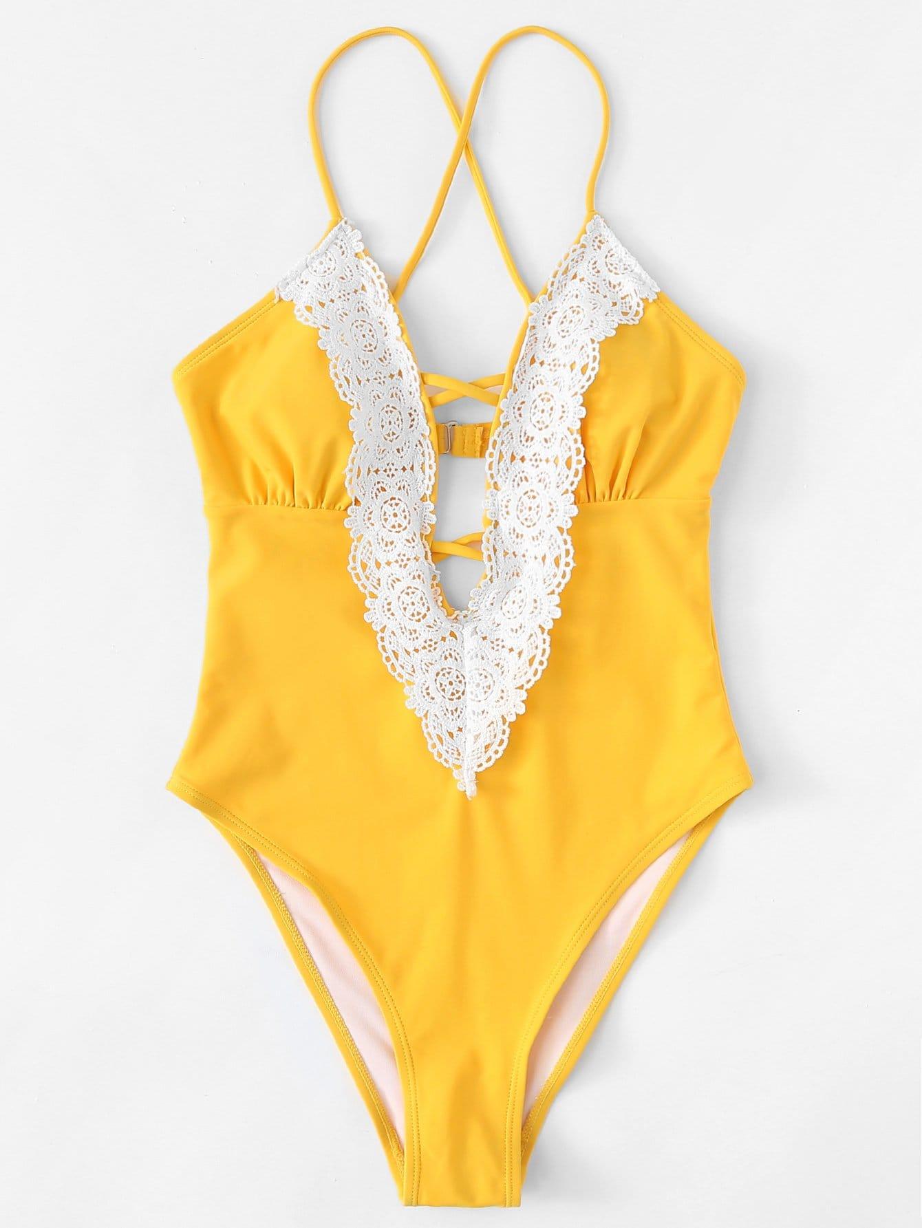 Crochet Lace Criss Cross Swimsuit