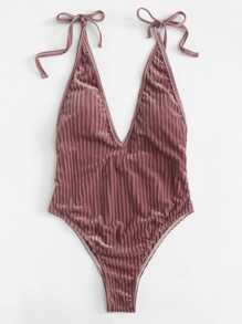 V Plunge Low Back Swimsuit