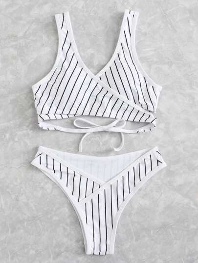 Striped Wrap Bikini Set