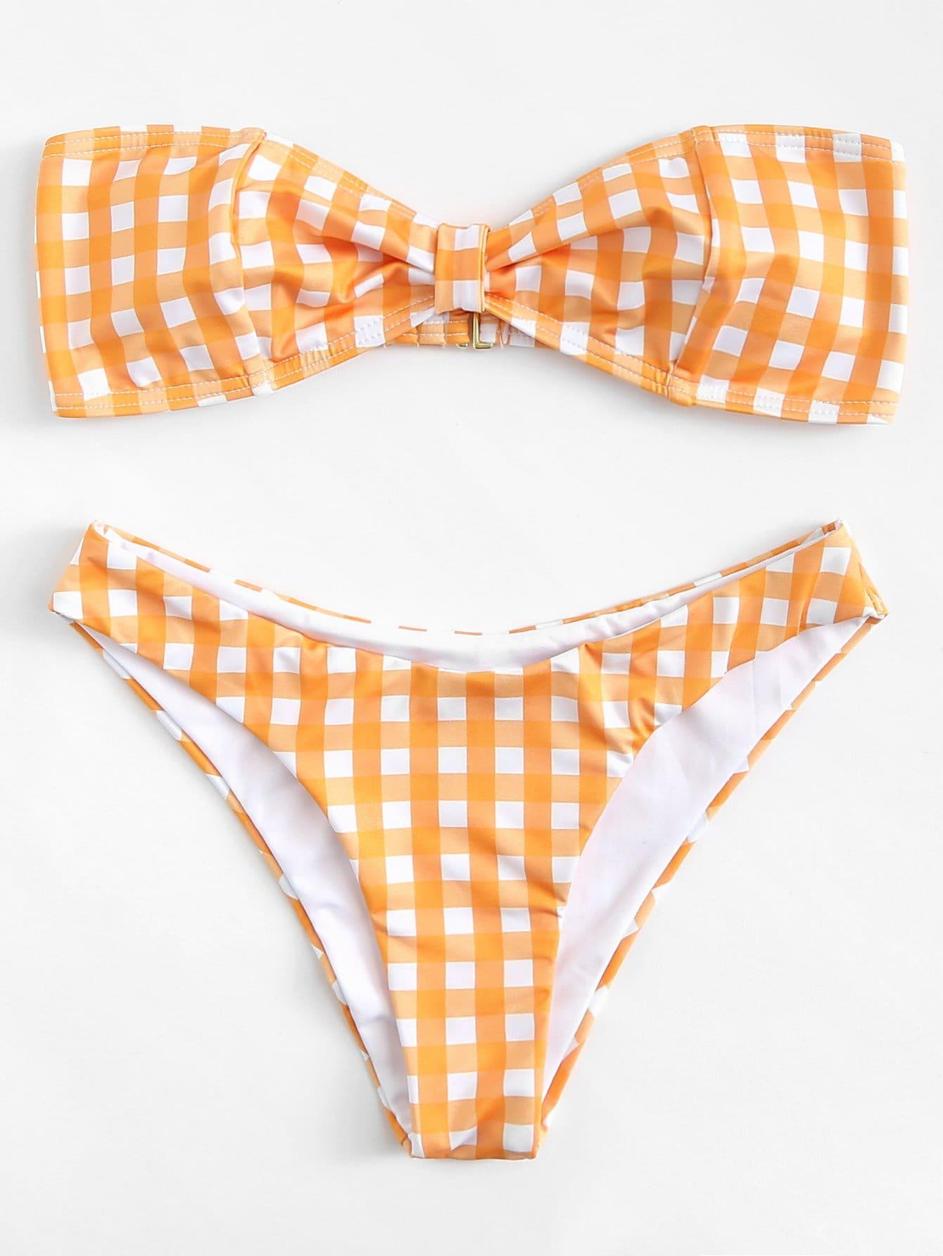Gingham Bandeau Bikini Set цена и фото