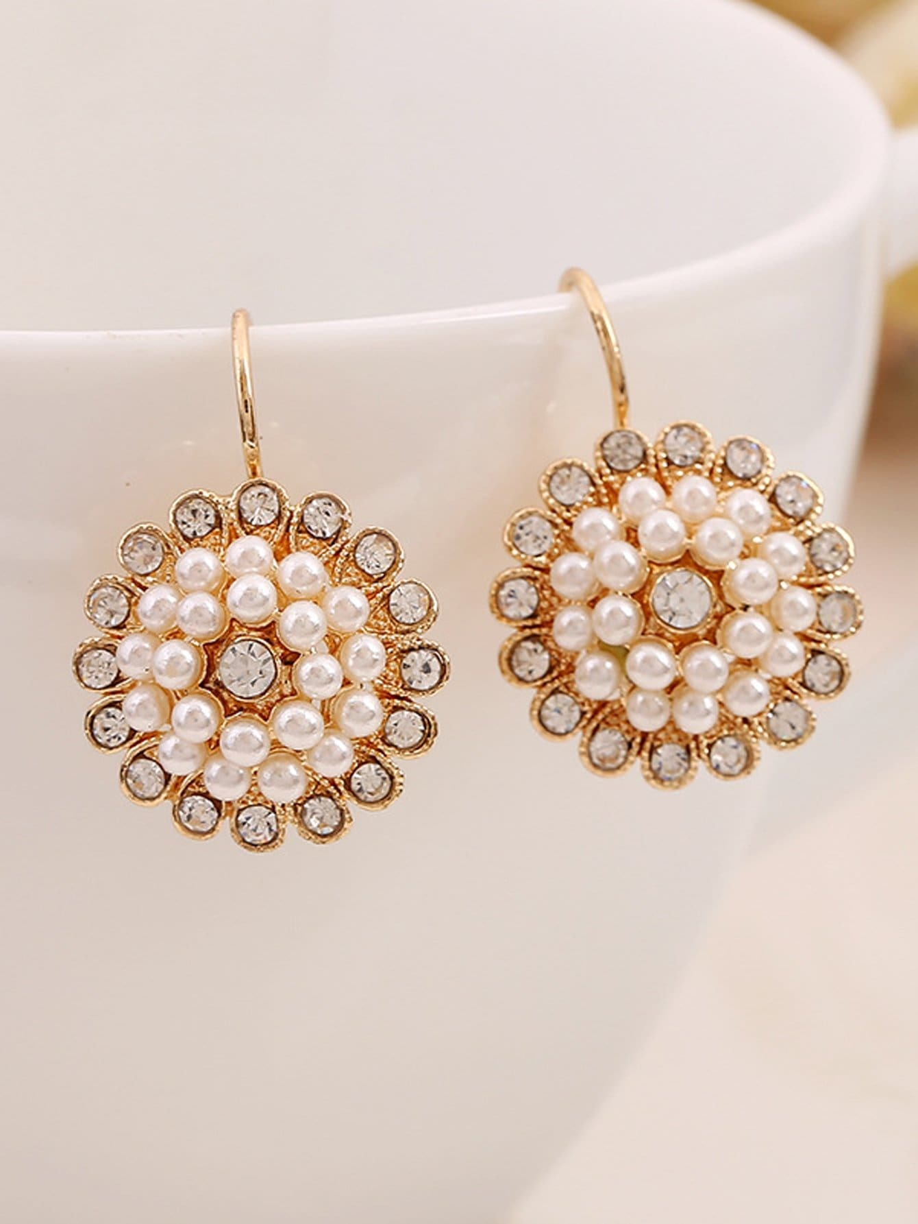 Faux Pearl And Rhinestone Clip On Earrings