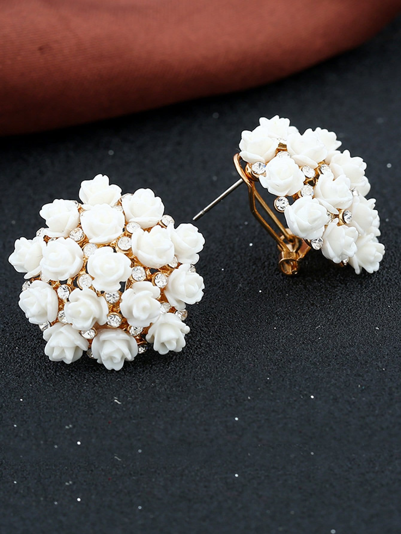 Flower Decorated Clip On Earrings
