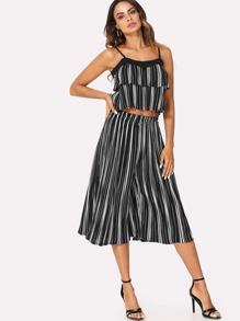 Stripe Contrast Cami Top & Wide Leg Pants