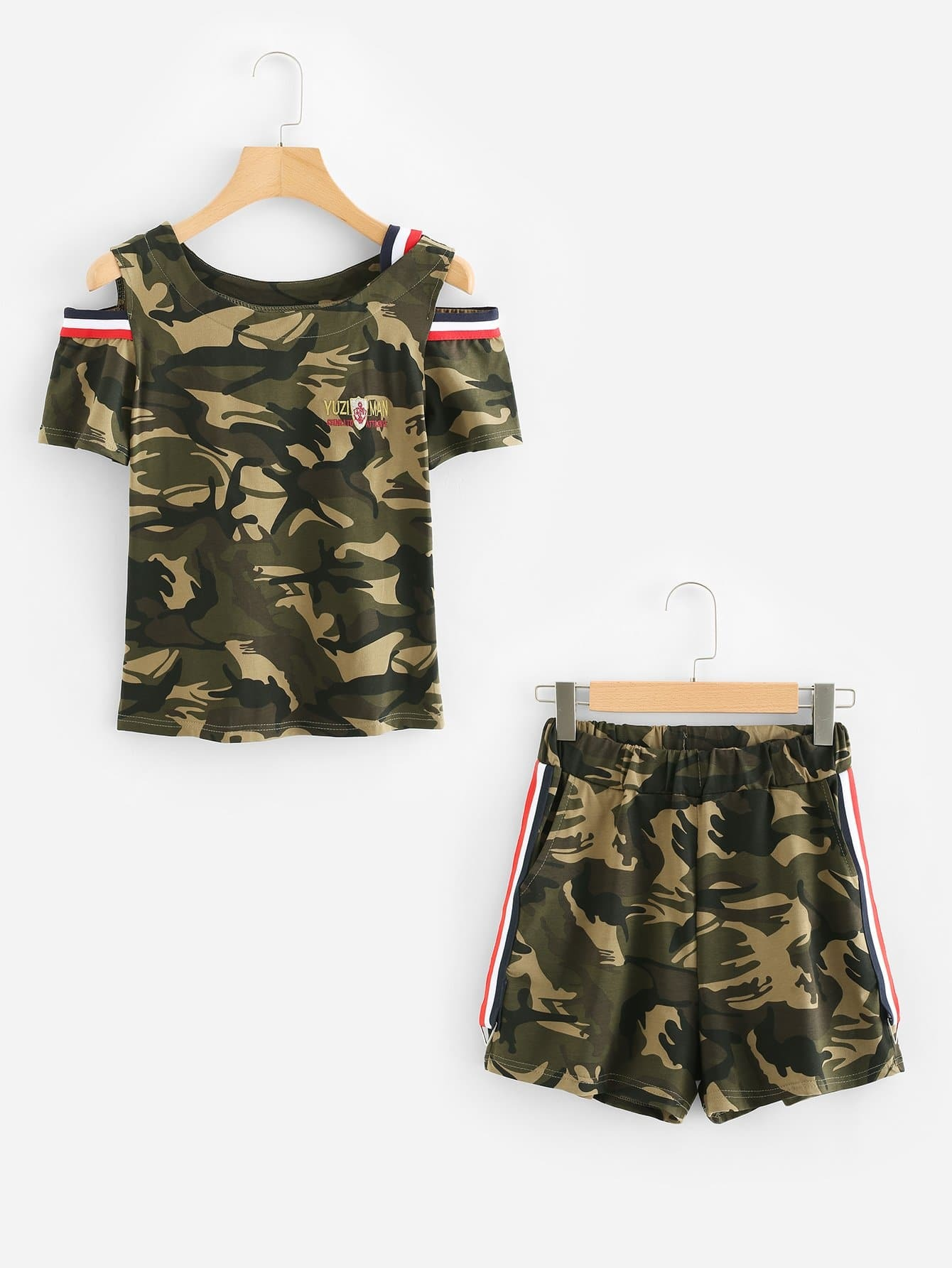 Open Shoulder Tee & Stripe Contrast Shorts open shoulder double strap tee