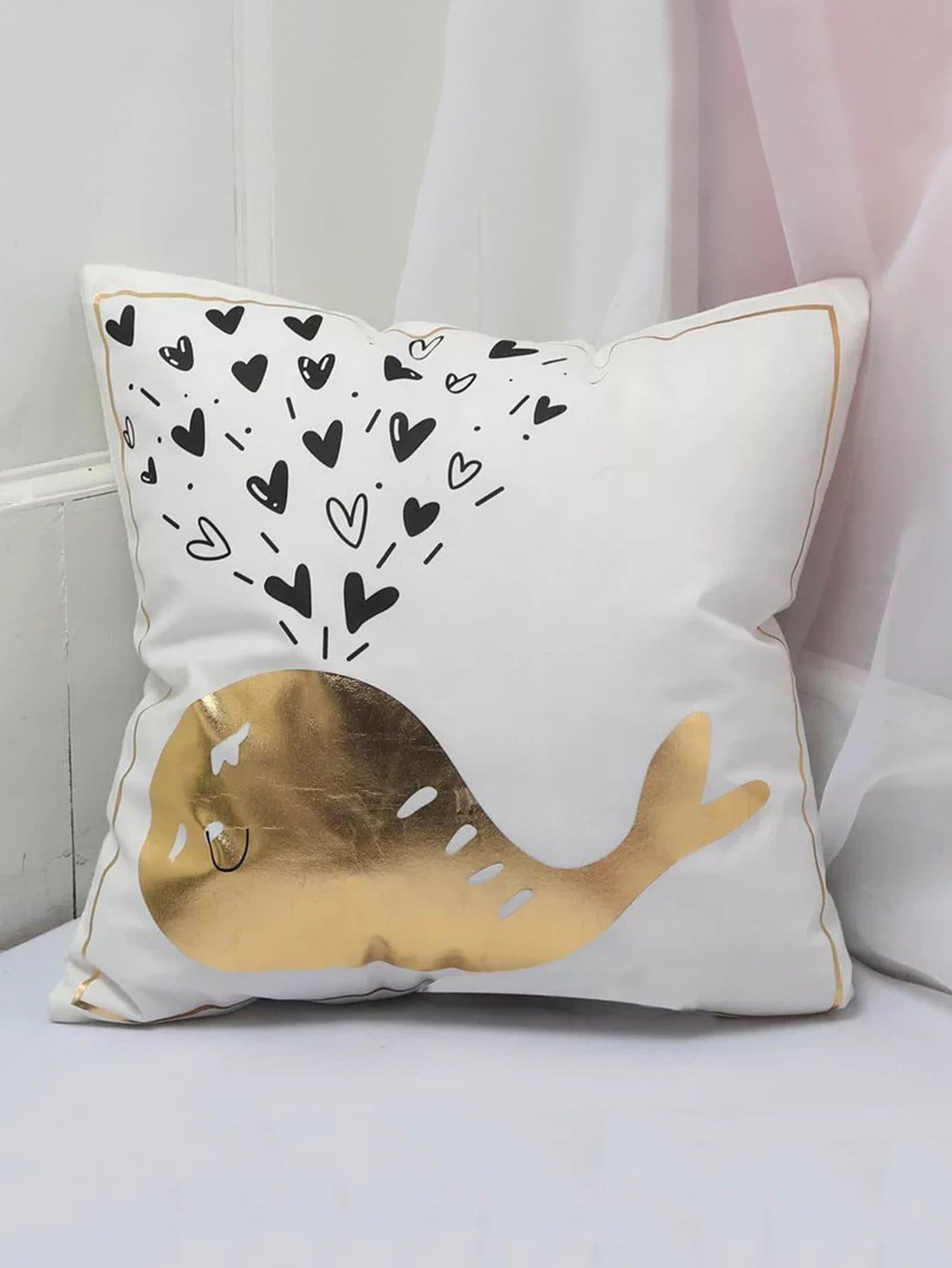 Metallic Whale Print Cushion Cover