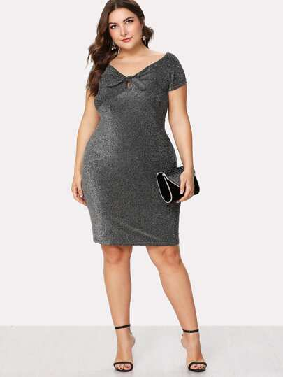 V Neckline Knot Front Dress
