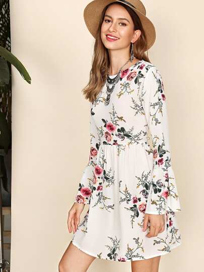 Floral Print Fluted Sleeve Dress