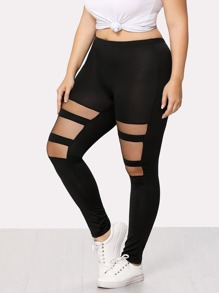 Sheer Mesh Panel Skinny Leggings