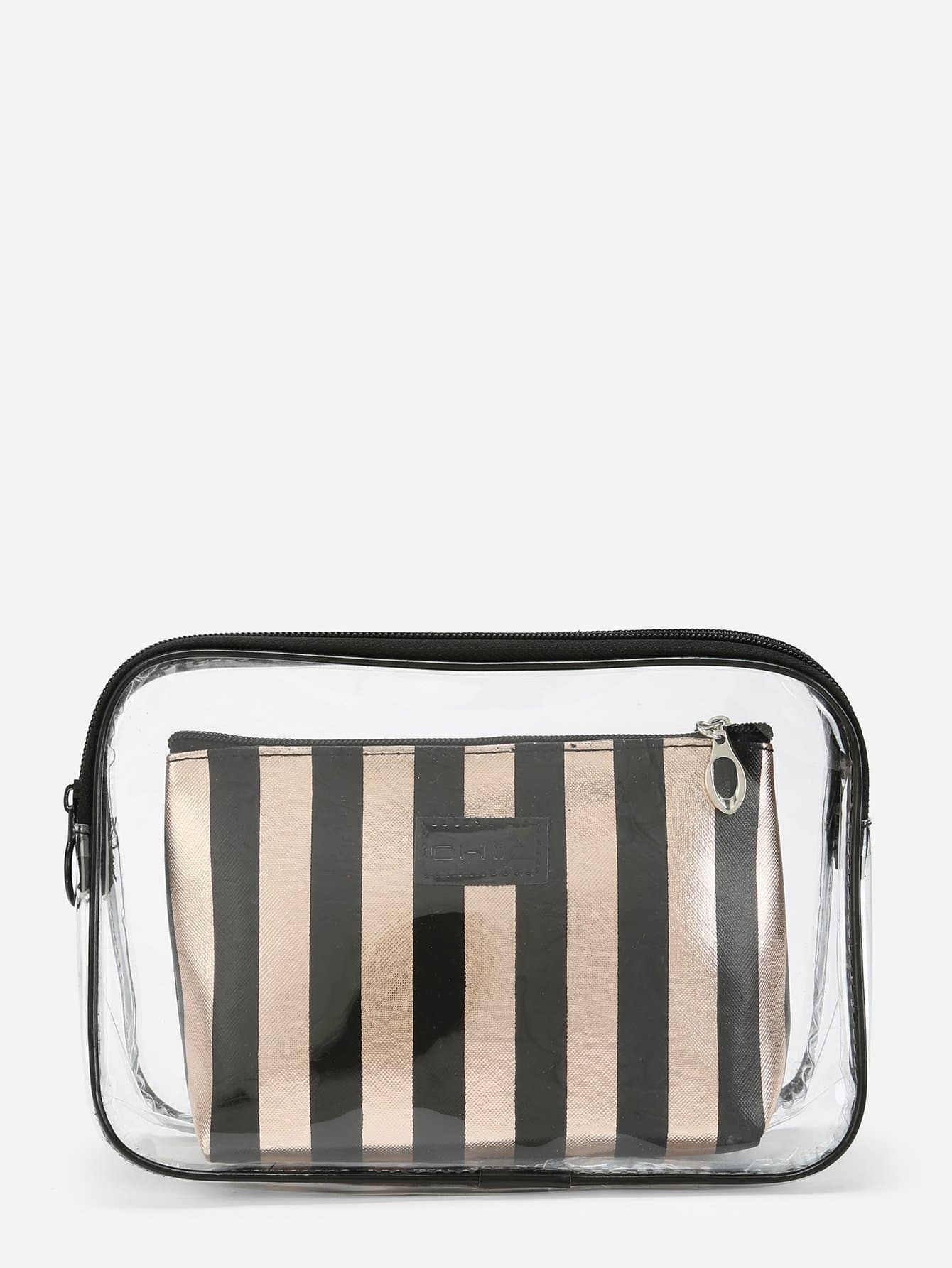 Zip Around Clear Bag With Inner Clutch fossil sydney patchwork zip clutch